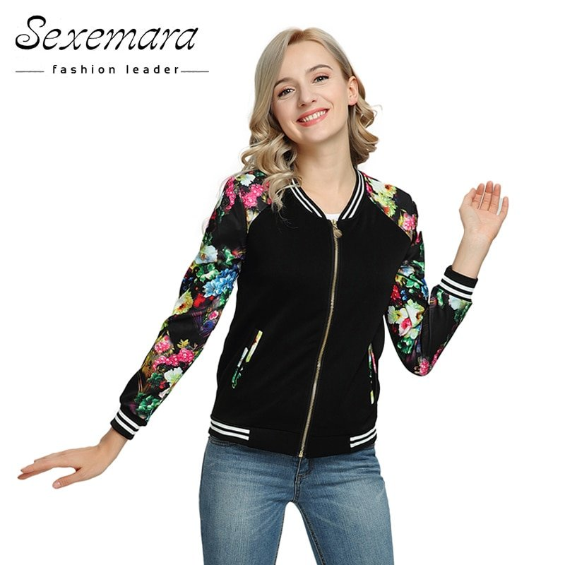 New Design V-Neck Long Sleeve Outerwear Zipper Jacket with Flower Printed
