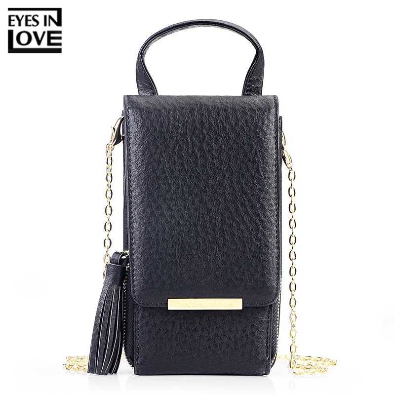 Soft PU Leather & Polyester Lining Mini Shoulder Bags with Tassel Decor