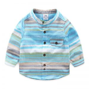 Colorful Cotton Mandarin Collar & Full Sleeve Children Shirts with Pockets